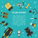Fondo del buceo con escafandra en un estilo plano Fotos de archivo