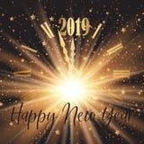 Fondo del buon anno con effetto del fronte e del fuoco d'artificio di orologio royalty illustrazione gratis