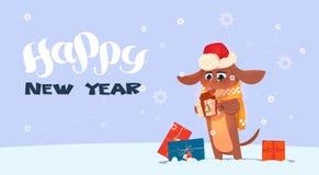 Fondo 2018 del buon anno con il cane sveglio che indossa Santa Hat illustrazione vettoriale