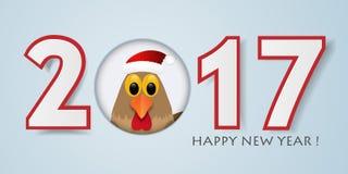 Fondo del buon anno con il gallo Illustrazione di vettore illustrazione di stock