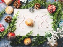 Fondo del buon anno con scritto 2018 Immagine Stock Libera da Diritti