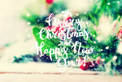 Fondo del buon anno di Natale di congratulazione Fotografie Stock