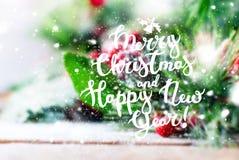 Fondo del buon anno di Natale di congratulazione Fotografia Stock Libera da Diritti