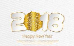 Fondo 2017 del buon anno di vettore con i tagli di carta Immagine Stock Libera da Diritti