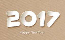 Fondo 2017 del buon anno di vettore con i tagli di carta illustrazione di stock