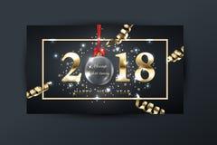 fondo del buon anno di 2018 vettori con la serpentina dell'oro Immagini Stock Libere da Diritti