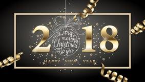 fondo del buon anno di 2018 vettori con la serpentina dell'oro, Immagine Stock Libera da Diritti