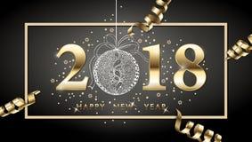 fondo del buon anno di 2018 vettori con la serpentina dell'oro, con la palla disegnata a mano di Natale Cartolina d'auguri del bu Fotografia Stock