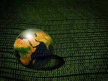 Fondo del código binario con el globo Imágenes de archivo libres de regalías
