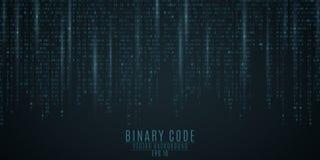 Fondo del código binario Resplandor azul Figuras que caen El empañar de figuras en el movimiento Red global Altas tecnologías, pr Imagenes de archivo