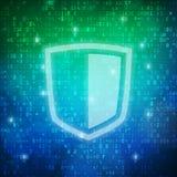 Fondo del código de datos digitales del ordenador del icono del escudo de la seguridad Foto de archivo libre de regalías