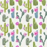Fondo del cactus del vector Modelo inconsútil Planta exótica ilustración del vector