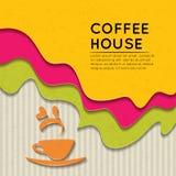 Fondo del café del estilo de la etiqueta de la etiqueta engomada Imagenes de archivo