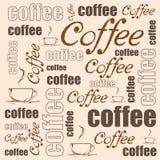 Fondo del café del vector ejemplo con una taza de café y de wods dibujados mano Fotografía de archivo