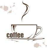 Fondo del café del vector ejemplo con una taza de café y de wods dibujados mano Imágenes de archivo libres de regalías