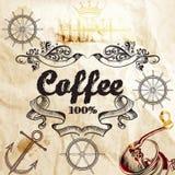 Fondo del café en una vieja textura de papel con el mapa y el café milipulgada Imagen de archivo libre de regalías