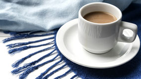 Fondo del café y de la bufanda Imagen de archivo libre de regalías
