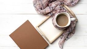 Fondo del café y de la bufanda Imágenes de archivo libres de regalías