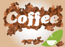 Fondo del caffè con la tazza di caffè ed i chicchi di caffè, vettore Fotografia Stock Libera da Diritti