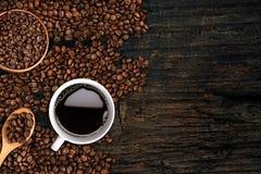 Fondo del caffè, vista superiore con lo spazio della copia Fotografia Stock Libera da Diritti