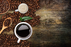 Fondo del caffè, vista superiore con lo spazio della copia Immagine Stock
