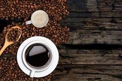 Fondo del caffè, vista superiore con lo spazio della copia Immagini Stock