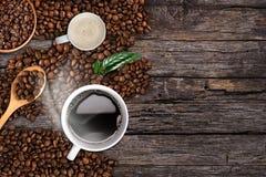 Fondo del caffè, vista superiore con lo spazio della copia Fotografia Stock