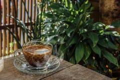 Fondo del caffè, vista superiore con lo spazio della copia fondo, tazza di caffè e un buongiorno del fumo, un caffè caldo e un cu immagine stock