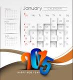 Fondo 2015 del calendario del Año Nuevo Foto de archivo libre de regalías