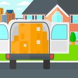 Fondo del camión de reparto con una puerta abierta y de las cajas de cartón delante de la casa ilustración del vector