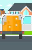 Fondo del camión de reparto con una puerta abierta y de las cajas de cartón delante de la casa libre illustration