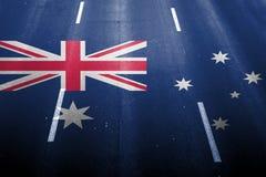 Fondo del camino rápido con la mezcla de la bandera de Australia Fotografía de archivo
