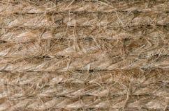 Fondo del cáñamo Secuencia de lino Textura de la cuerda Cierre para arriba Foto de archivo libre de regalías