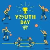 Fondo del campeonato del baloncesto del día de la juventud Fotografía de archivo