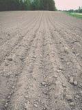 Fondo del campo recentemente arato pronto per i nuovi raccolti - annata e Immagine Stock Libera da Diritti
