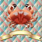 Fondo del cangrejo y cinta realistas del oro Fotografía de archivo