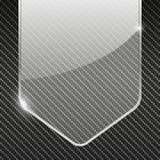 Fondo del carbonio con l'insegna di vetro trasparente Immagini Stock Libere da Diritti