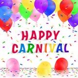 Fondo del carnaval con los globos y el confeti realistas coloridos Tarjeta de felicitación Fotos de archivo libres de regalías