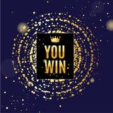 Fondo del cartel de la tarjeta del concepto del ganador en un azul Vector ilustración del vector