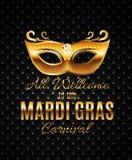 Fondo del cartel de Mardi Gras Party Mask Holiday Illustra del vector Fotografía de archivo