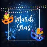 Fondo del cartel de Mardi Gras Party Mask Holiday Ilustración del vector Libre Illustration
