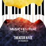 Fondo del cartel del festival de música Cartel promocional del café de la música del piano del jazz Fotos de archivo libres de regalías