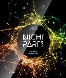 Fondo del cartel del partido de disco de la noche Imagen de archivo libre de regalías