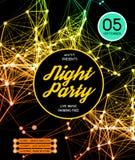 Fondo del cartel del partido de disco de la noche Imagenes de archivo