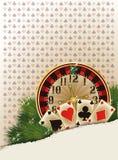 Fondo del casinò di Buon Natale Fotografia Stock Libera da Diritti