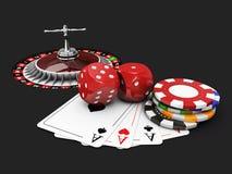Fondo del casino con los dados, las tarjetas, la ruleta y los microprocesadores negro aislado, ejemplo 3d Fotos de archivo libres de regalías