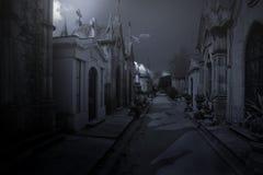 Fondo del cementerio de la noche Foto de archivo