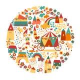 Fondo del cerchio dei bambini con le case felici Fotografie Stock