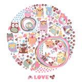 Fondo del cerchio dei gufi. Carta di amore. Modello per il fumetto g di progettazione Immagine Stock