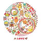 Fondo del cerchio dei gufi. Carta di amore. Modello per il fumetto g di progettazione Immagini Stock